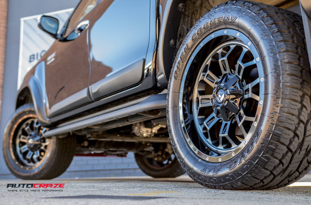 Toyota Hilux Fuel Crush Wheels Toyo Open Country Tyres Rear Fitment Close Up Shot Gallery Janurary 2018