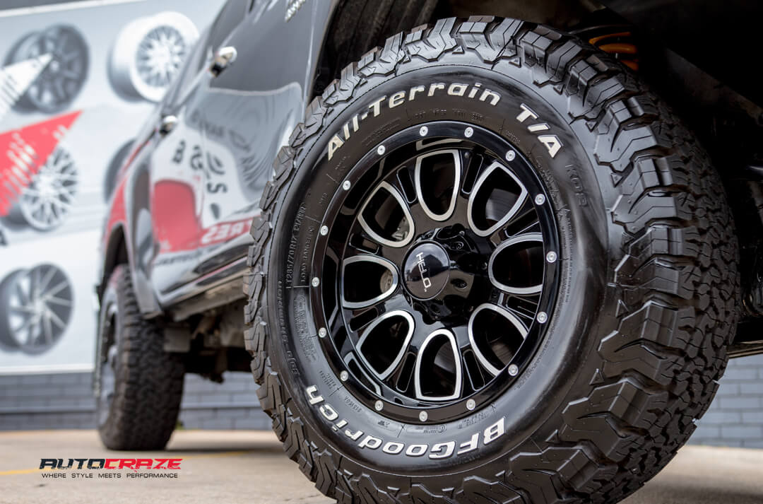 Toyota Hilux HELO HE879 Wheels BF Goodrich Tyres Front Fitment Close Up Shot Gallery Janurary 2018