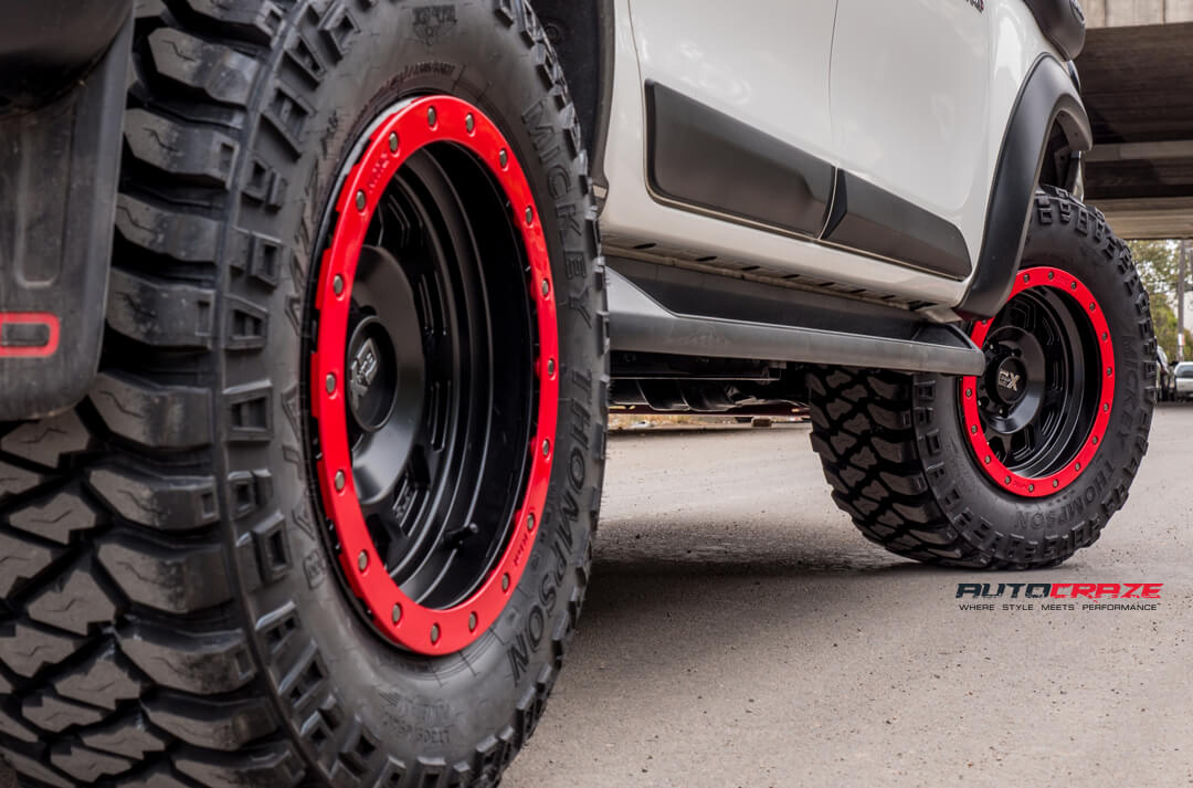 Toyota Hilux KMC XD RG2 Wheels Mickey Thompson Tyres Bullbar Liftkit Rear Fitment Close Up Shot Gallery February 2018