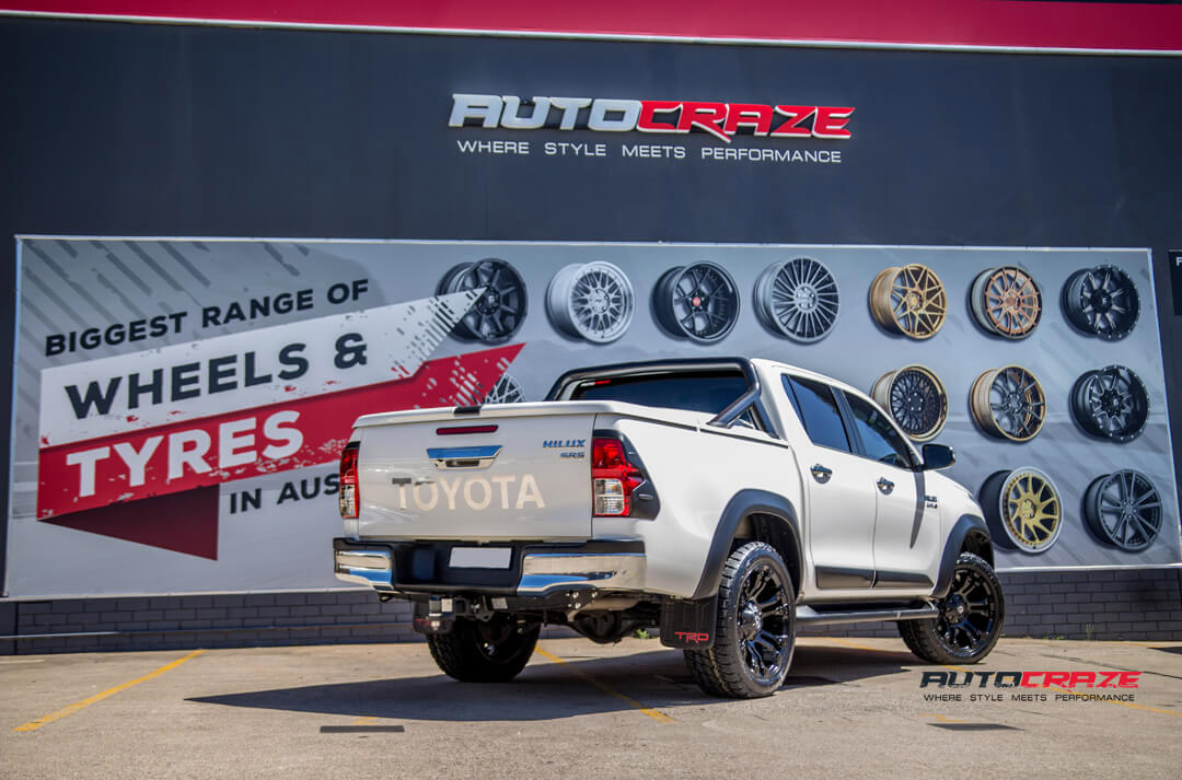White Toyota Hilux Black Fuel Vapor Wheels Nitto Terra Grappler Tyres Rear Close Up Shot Gallery Janurary 2018