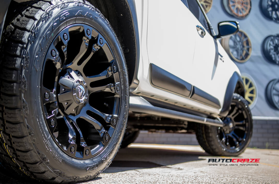 White Toyota Hilux Black Fuel Vapor Wheels Nitto Terra Grappler Tyres Rear Fitment Close Up Shot Gallery Janurary 2018