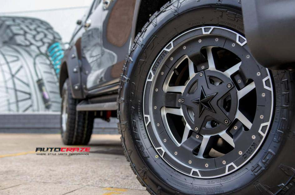 toyota trd with KMC Rockstar wheel and nitto tyre front wheel close up shot february 2018