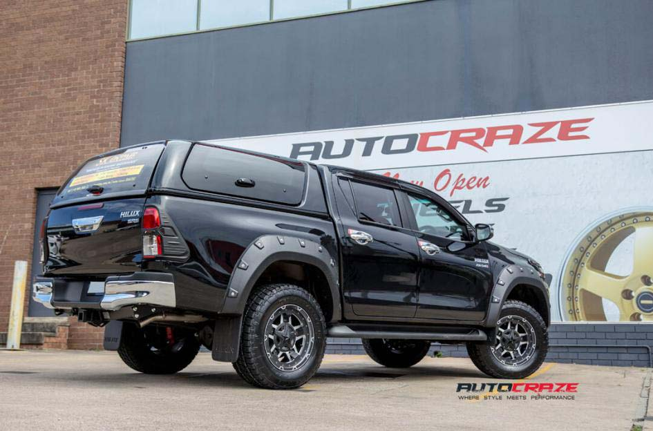 toyota trd WITH KMC Rockstar AND nitto tyre rear wide angle shot february 2018