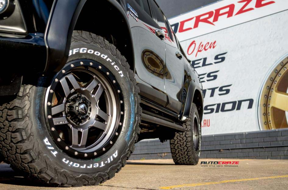 toyota trd with fuel anza wheel and bf goodrich tyre front wheel close up shot february 2018