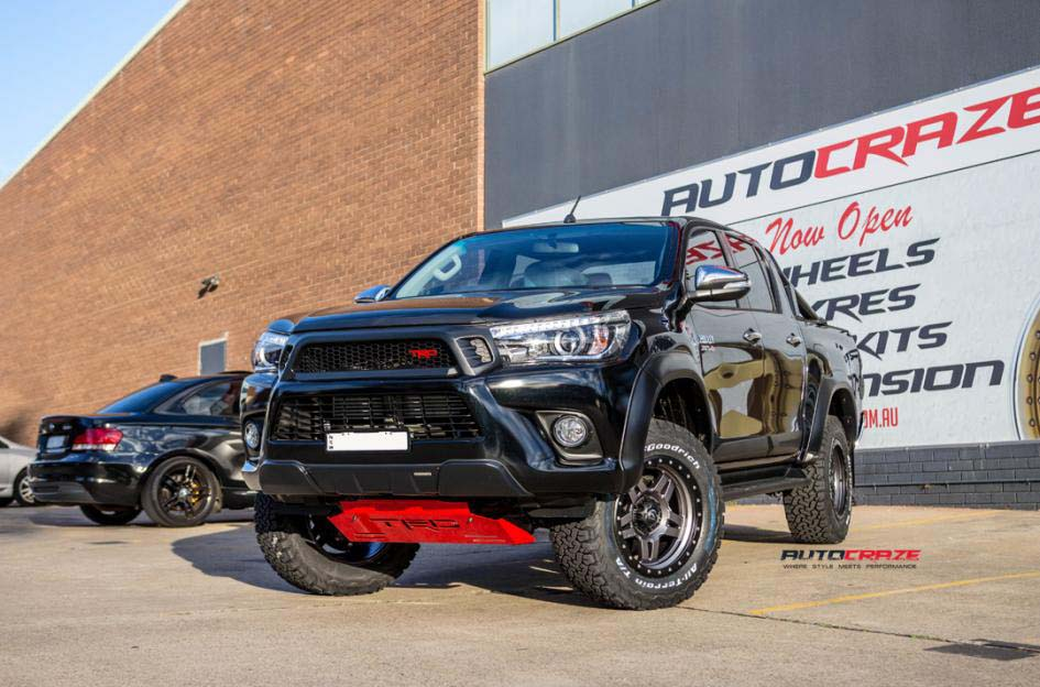 toyota trd with fuel anza wheel and bf goodrich tyre front wide angle shot february 2018