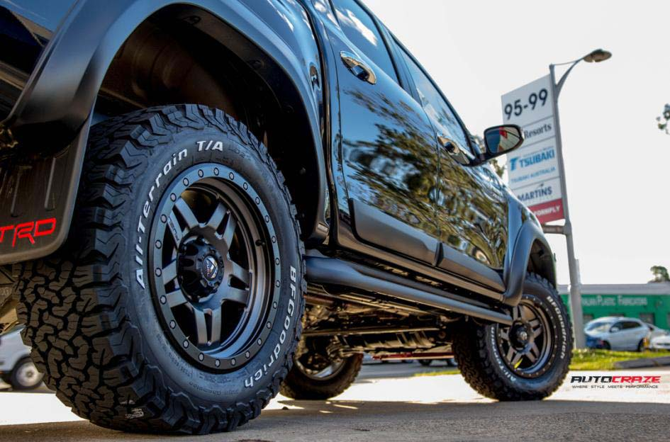 toyota trd with fuel anza wheel and bf goodrich tyre rear wheel close up shot february 2018