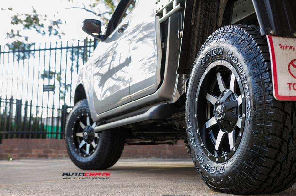 toyota trd with fuel maverick wheel and toyo tyre rear wheel close up shot february 2018