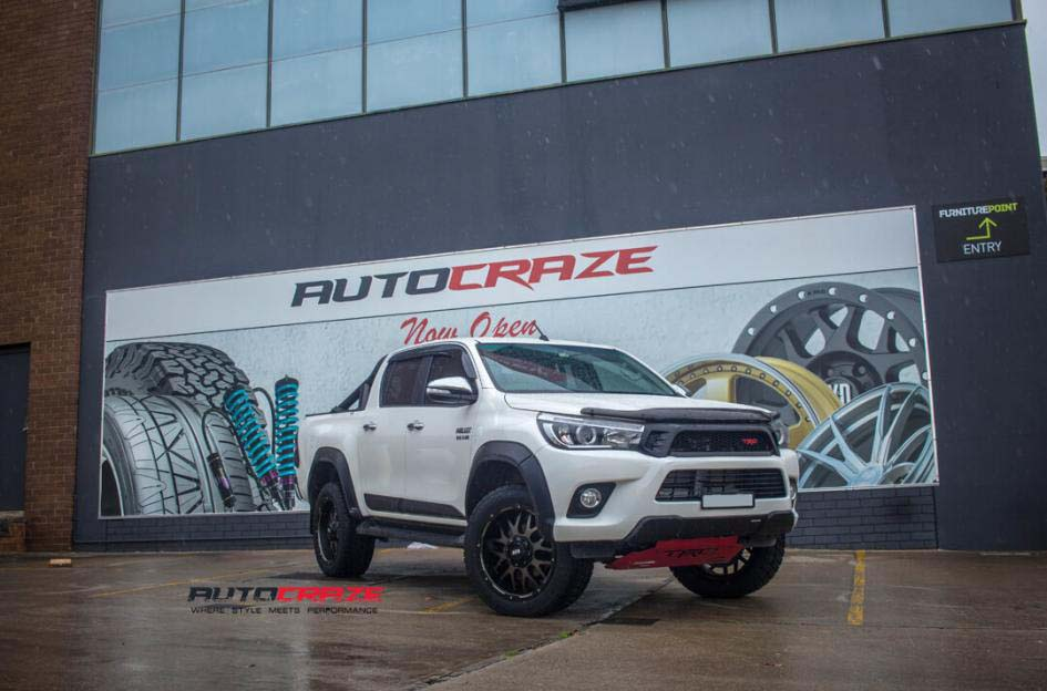 toyota trd with grid wheels gd02 and nitto terra grappler tyre front wide angle shot february 2018