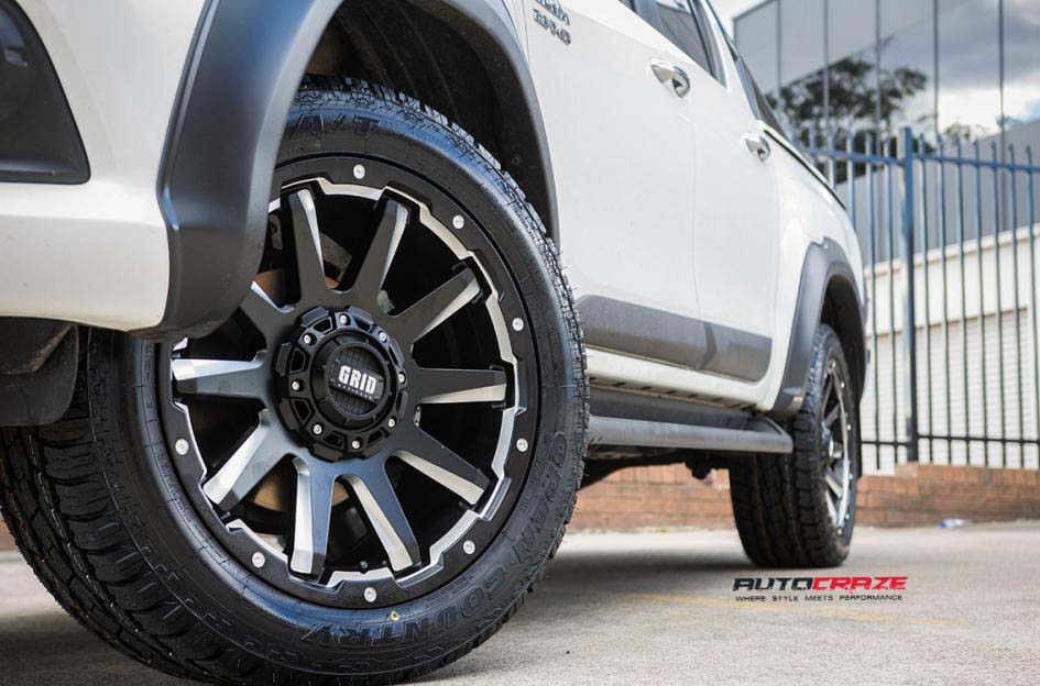 toyota trd with grid wheels gd05 and toyo tyre front wheel close up shot february 2018
