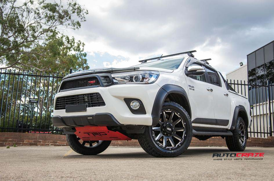 toyota trd with grid wheels gd05 and toyo tyre front wide angle shot february 2018