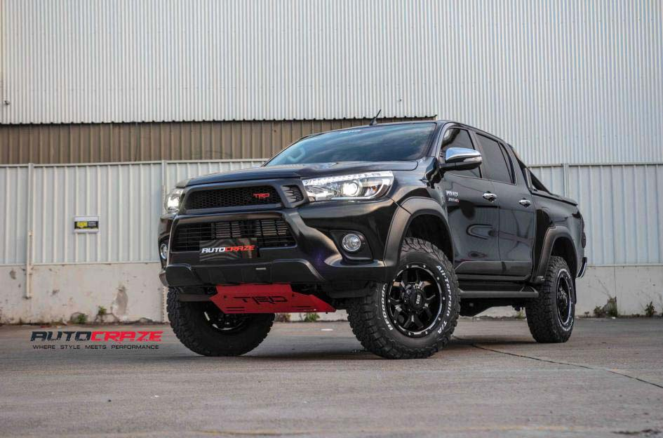 toyota trd with grid wheels gd07 and bf goodrich tyre front wide angle shot february 2018