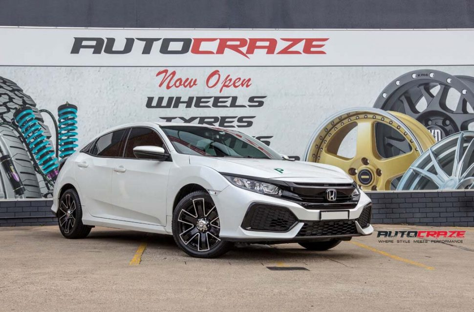 Honda Civic with King Rok wheel and Winrun tyre front wide angle shot april 2018