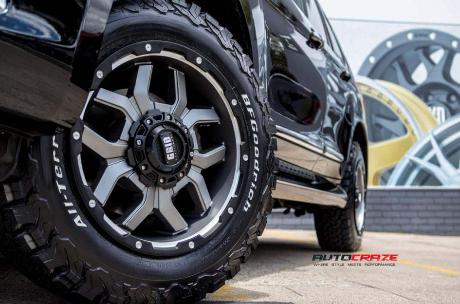 Haval H9 with Grid GD07 wheels and bf goodrich tyre front wheel close up shot march 2018