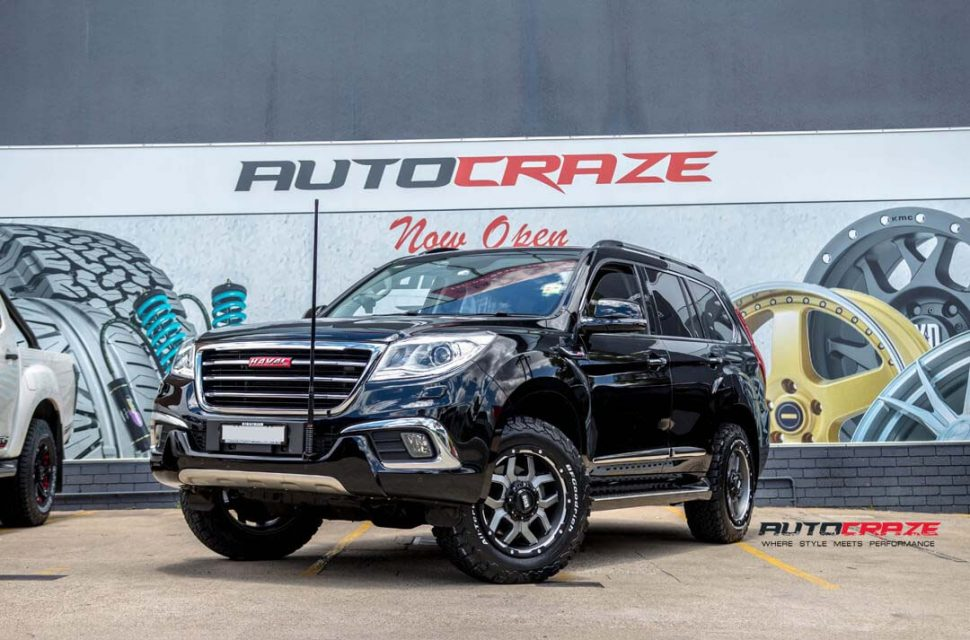 Haval H9 with Grid GD07 wheels and bf goodrich tyre front wide angle shot march 2018