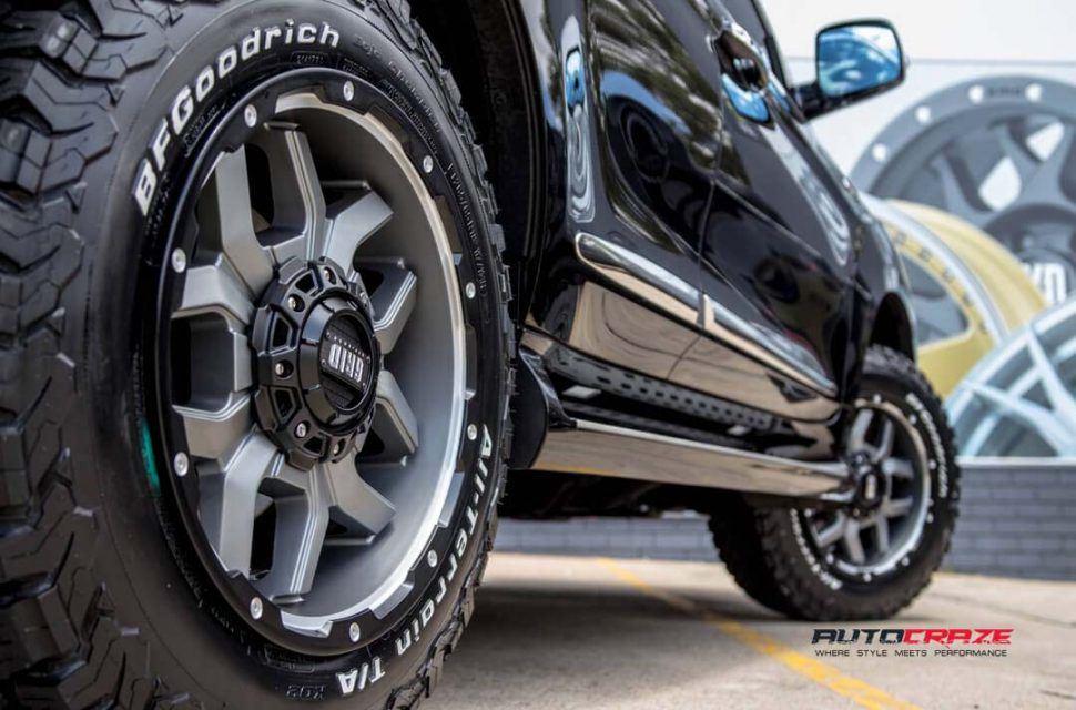 Haval H9 with Grid GD07 wheels and bf goodrich tyre rear wheel close up shot march 2018