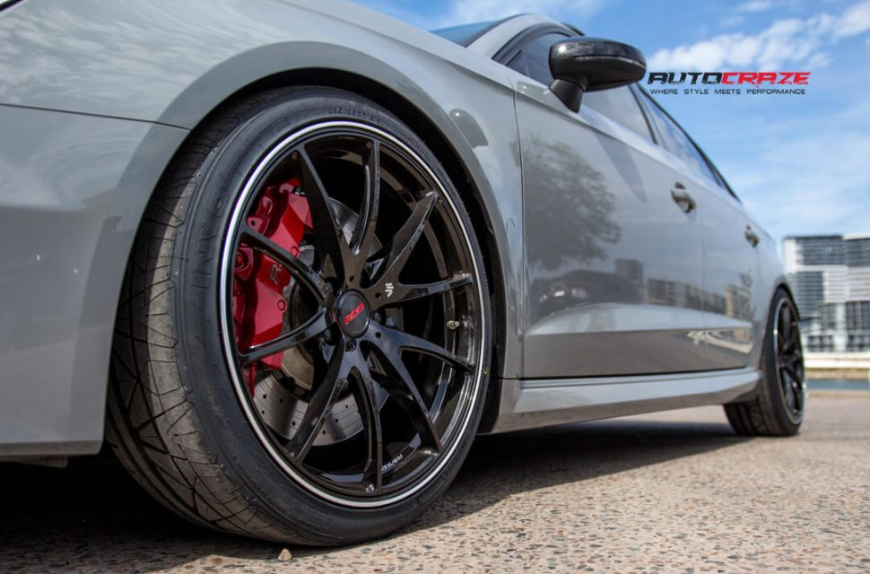 Audi RS3 Rays G25 Wheels Pirelli Tyres Front Fitment Close Up Sh