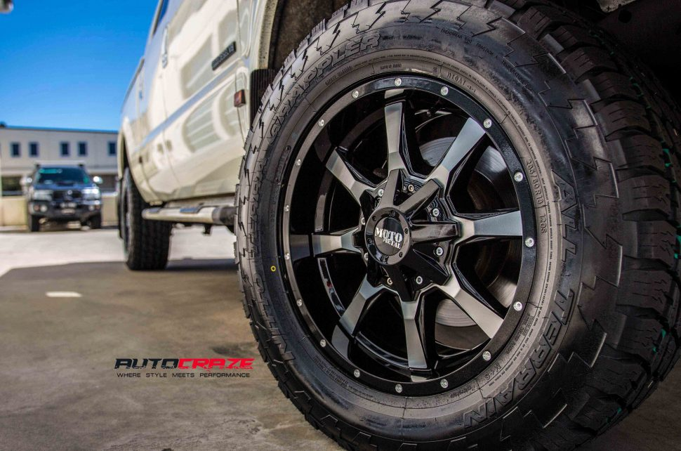 Ford F250 with Moto metal MO970 wheel and nitto tyre front wheel close up shot march 2018