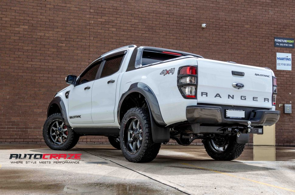 Ford Ranger with Moto Metal MO970 wheel and bf goodrich tyre rear wide angle shot march 2018
