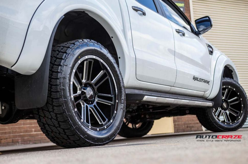 Ford Ranger with Moto Metal MO982 wheel and nitto terra grappler tyre rear wheel close up shot march 2018
