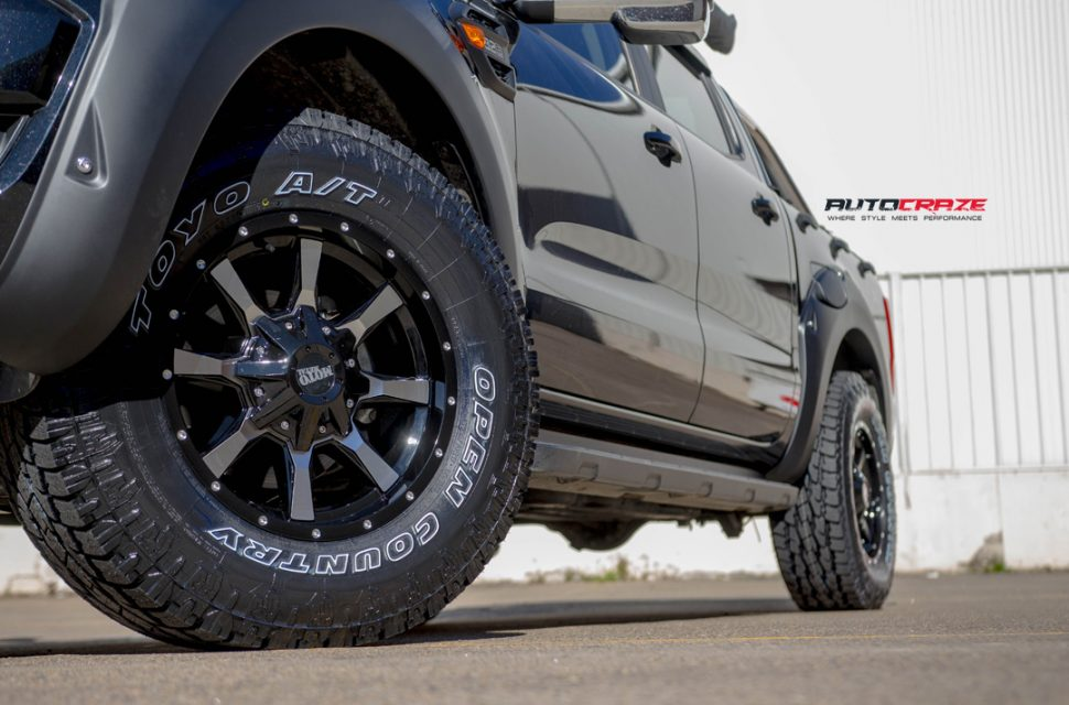 Ford Ranger with Moto Metal mo970 wheel and toyo tyres front wheel close up shot march 2018