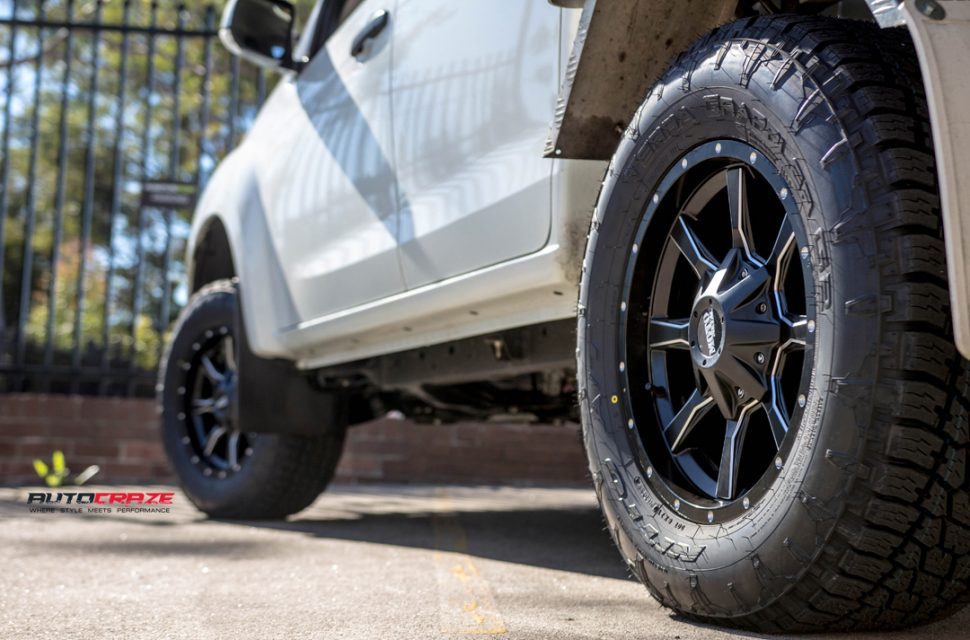 ISUZU DMAX with MOTO METAL mo970 wheel and nitto tyre rear wheel close up shot march 2018