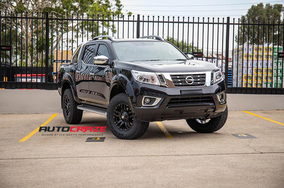Nissan Navara Diesel Cliff Matte Black Wheels Falken WildPeak AT Tyres Front Close Up Shot Gallery Jan 2019