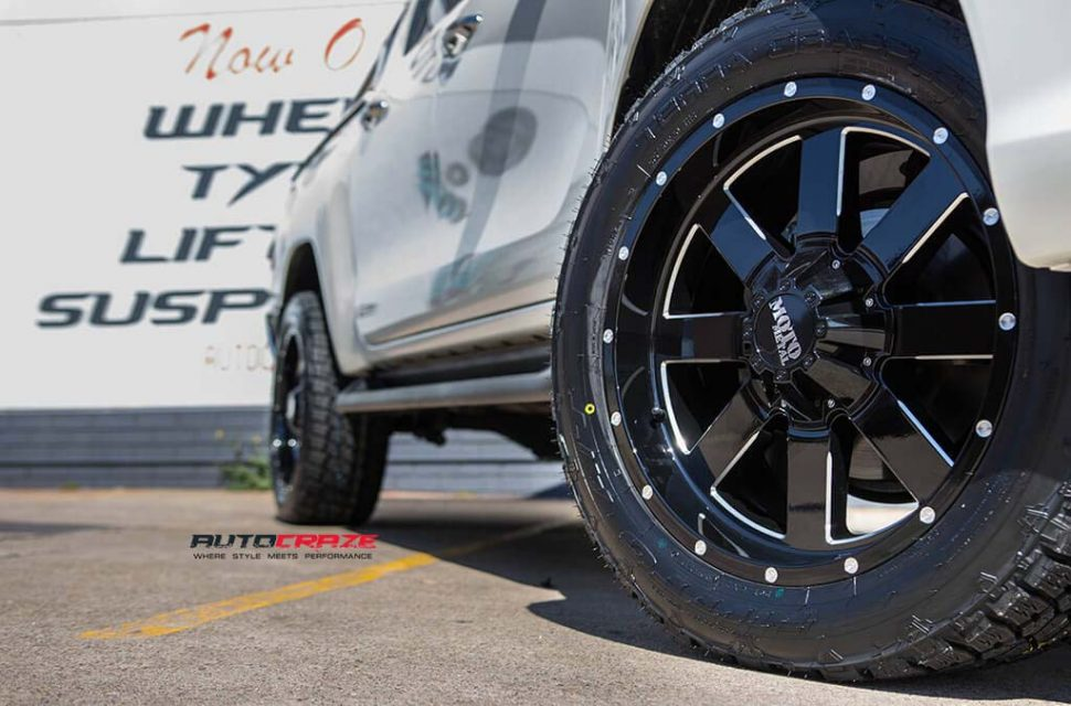 Toyota Hilux with Moto metal MO962 wheel and nitto terra grappler tyre front wheel close up shot march 2018