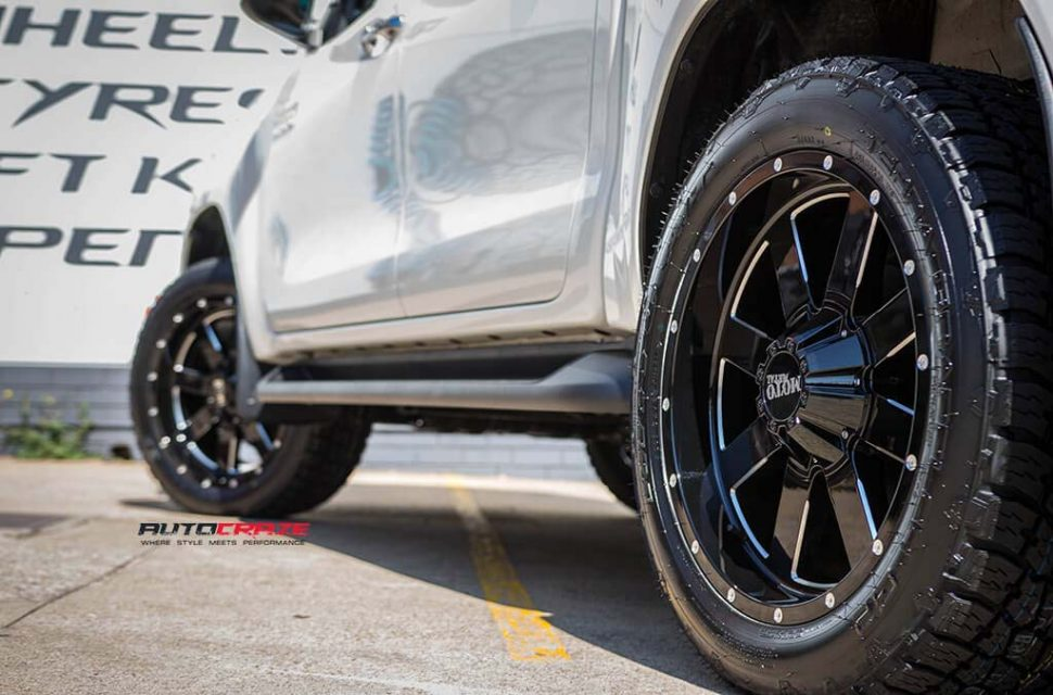 Toyota Hilux with Moto metal MO962 wheel and nitto terra grappler tyre rear wheel close up shot march 2018