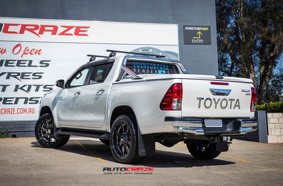 Toyota Hilux with Moto metal MO962 wheel and nitto terra grappler tyre rear wide angle shot march 2018