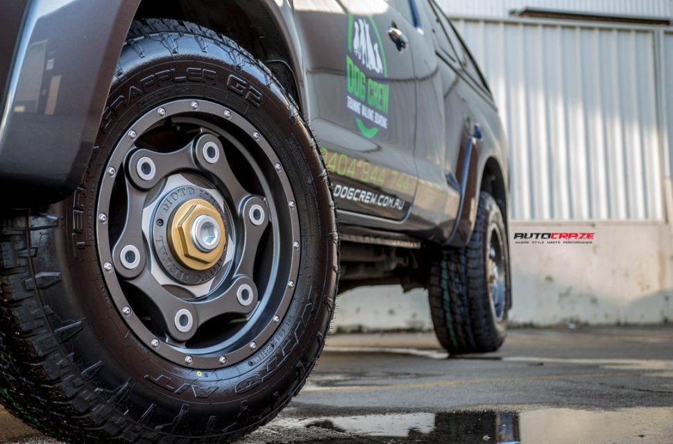 Toyota hilux moto metal mo977 wheel nitto terra grappler tyre front wheel close up shot march 2018