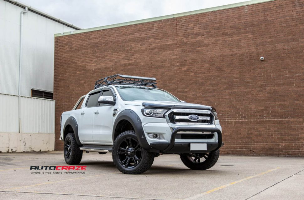 White Ford Ranger Diesel Brooklyn wheels front shot