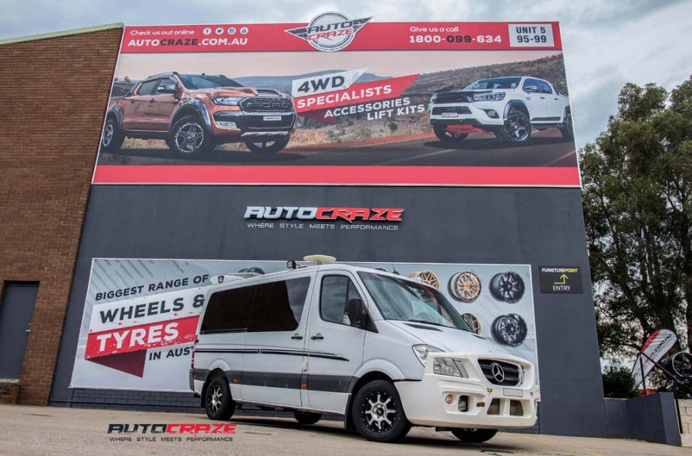 mercedes sprinter with moto metal mo970 wheel and nexen tyre front wide angle shot march 2018