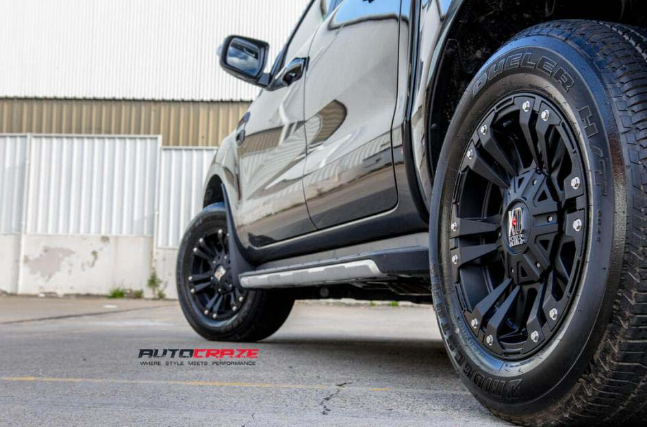 FORD RANGER WITH KMC MONSTER XD 2 WHEEL AND BRIDGESTONE TYRE REAR WHEEL CLOSE UP SHOT APRIL 2018