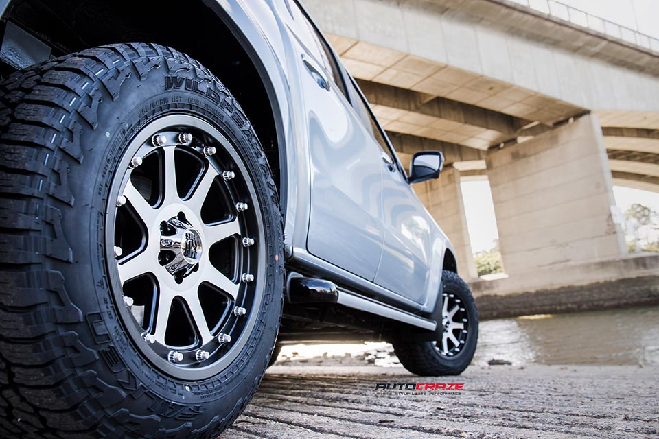 Mercedes X Class X250d with KMC Addict wheels and Falken Tyres rear fitment shot