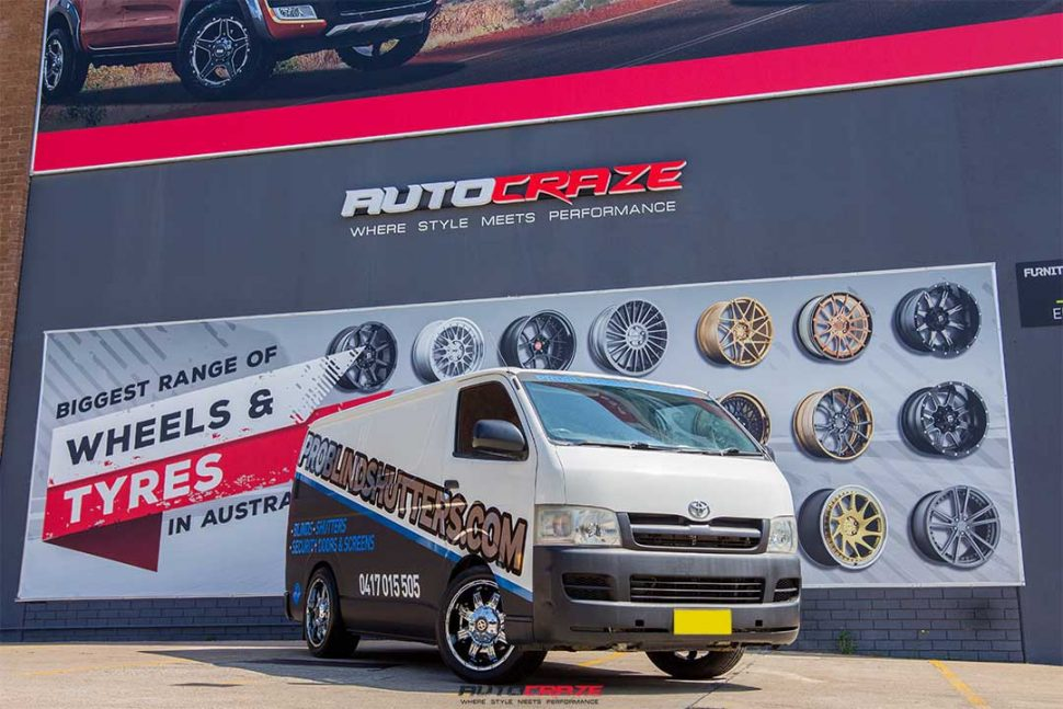 Toyota Hiace with American Racing ATX AX192 wheel and achilles tyre front wide angle shot april 2018