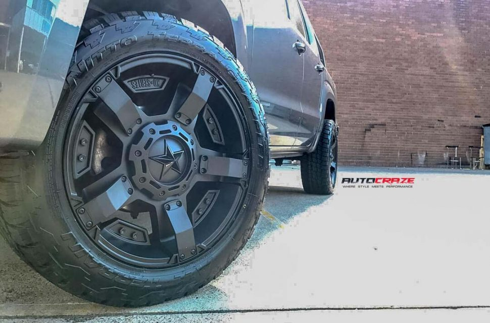 VOLKSWAGEN AMAROK WITH KMC MONSTER XD 2 WHEEL AND NITTO TYRE FRONT WHEEL CLOSE UP SHOT APRIL 2018