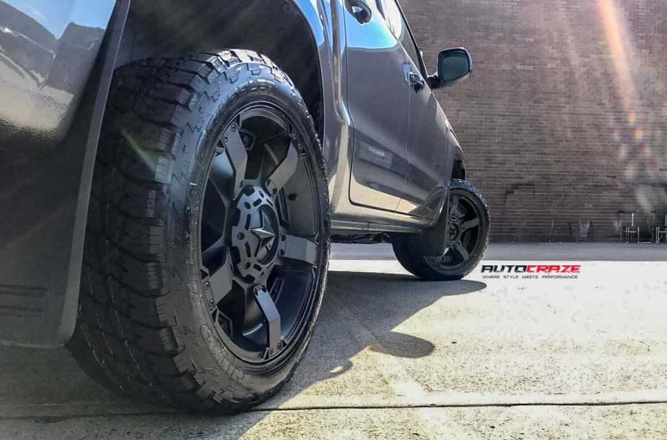 VOLKSWAGEN AMAROK WITH KMC MONSTER XD 2 WHEEL AND NITTO TYRE REAR WHEEL CLOSE UP SHOT APRIL 2018