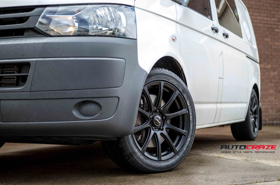 VW Transporter with Speedy Carbine wheels and Kinforest tyre front wheel close up shot april 2018