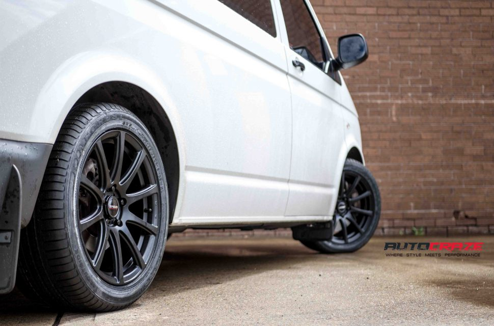 VW Transporter with Speedy Carbine wheels and Kinforest tyre rear wheel close up shot april 2018