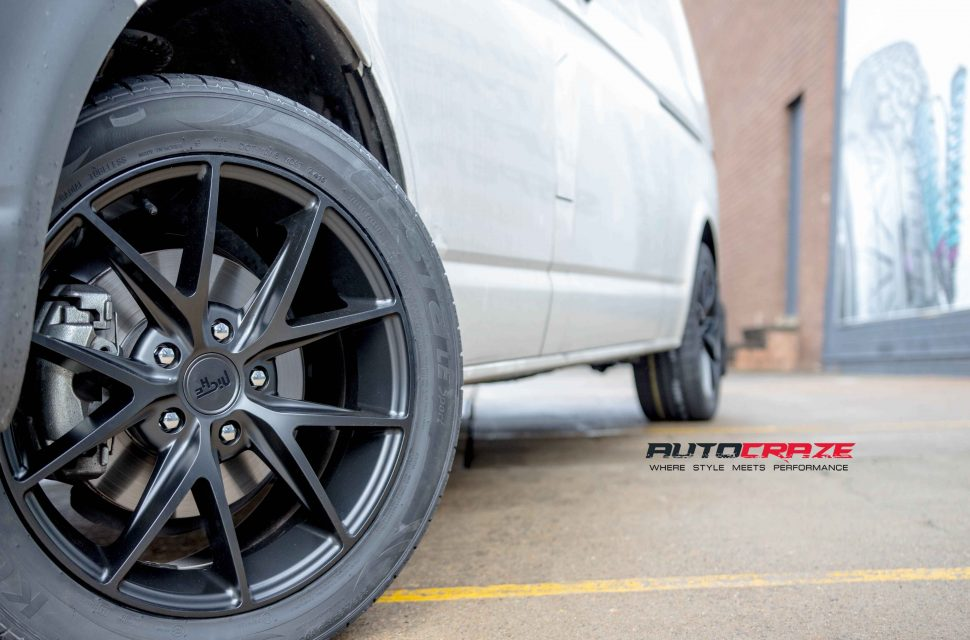 VW Transporter with niche misano wheels and kumho tyres front wheel close up shot apirl 2018