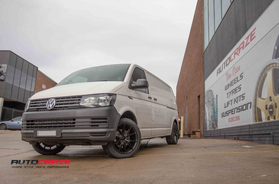VW Transporter with niche misano wheels and kumho tyres front wide angle shot apirl 2018