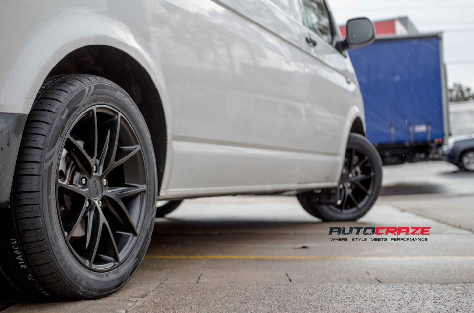 VW Transporter with niche misano wheels and kumho tyres rear wheel close up shot apirl 2018