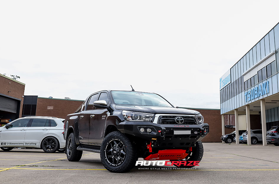 Black-Toyota-Hilux-Grid-Offroad-GD7-Matte-Black-Milled-Front-Gallery-August