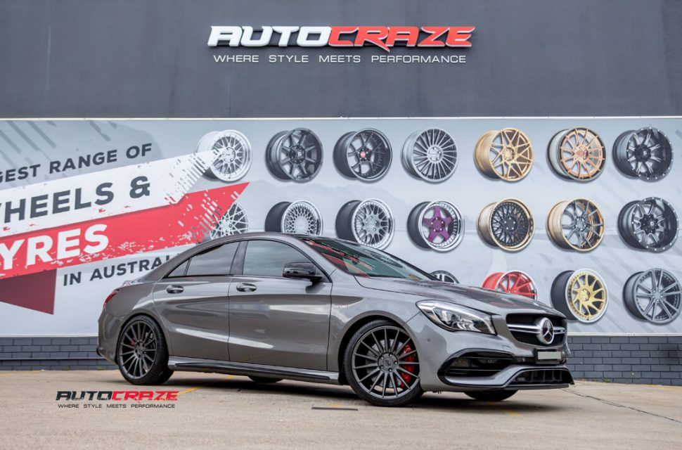Mercedes CLA45 AMG Niche Form Wheels Pirelli Tyres Front Close Shot Gallery February 2018