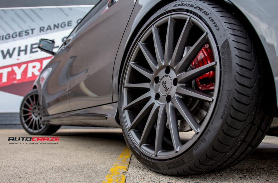 Mercedes CLA45 AMG Niche Form Wheels Pirelli Tyres Rear Fitment Close Up Shot Gallery February 2018
