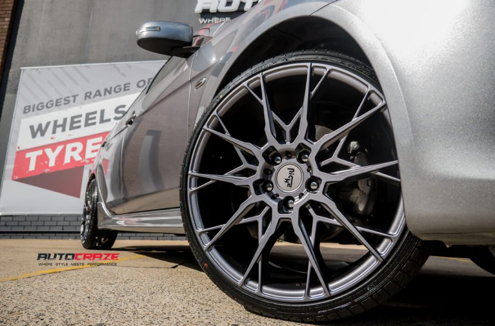 Mitsubishi Lancer Niche Staccato Wheels Front Fitment Close Up Shot Gallery February 2018