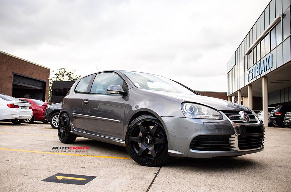 Volkswagen Golf R32 with Rotiform SIX wheels in Matte black finish Front Close Up Shot Gallery April 2018