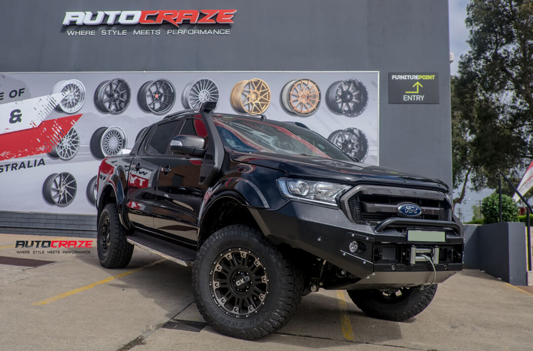 Ford Ranger with KMC XD Hoss 2 Wheels Toyo Tyres Lift Kit Bull Bar Front Close Shot Gallery April 2018