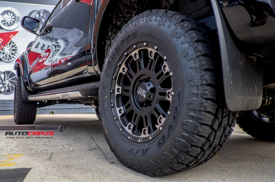 Ford Ranger with KMC XD Hoss 2 Wheels Toyo Tyres Lift Kit Bull Bar Rear Fitment Close Up Shot Gallery April 2018