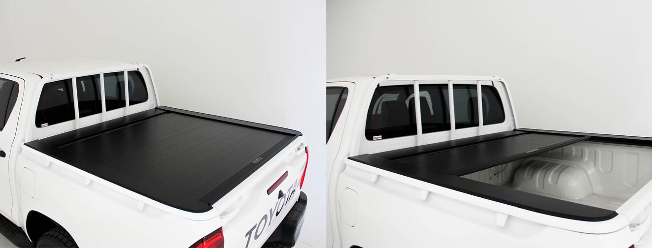 Toyota Hilux HSP Roll-R-Cover feture shot of it opening and closing. Photo also shows fitment.